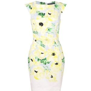 French Connection Yellow Floral Poppy Sheath Dress